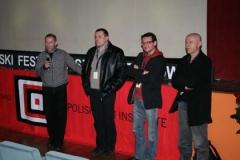 Tomasz Wiszniewski, Robert Więckiewicz, Rafał Szamburski i Jacek Nowakowski prowadzący spotkanie